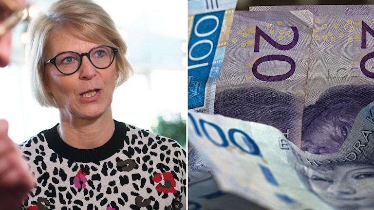 Till vänster: Moderaternas ekonomisk-politiska talesperson Elisabeth Svantesson. Till höger: pengar.