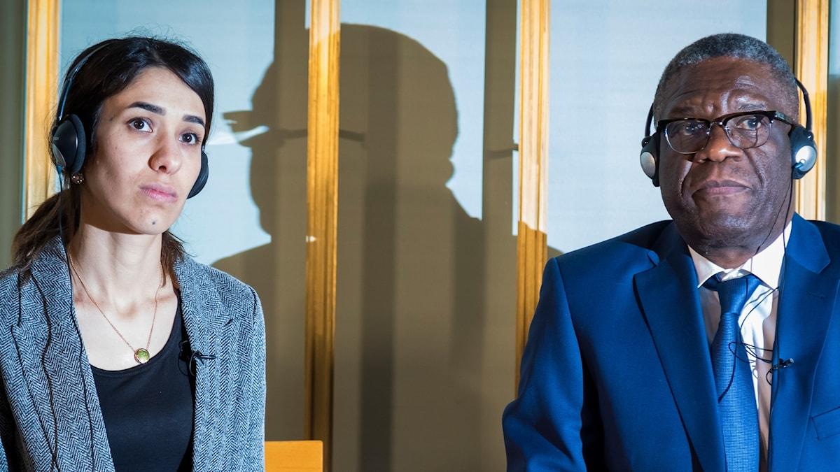 Nadia Murad och Denis Mukwege under presskonferensen.