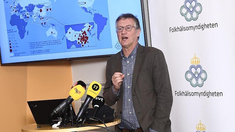 Statsepidemiolog Anders Tegnell under onsdagens pressträff med Folkhälsomyndigheten och Socialstyrelsen om beredskapsläget i Sverige med anledning av coronaviruset. Foto: Claudio Bresciani/TT.