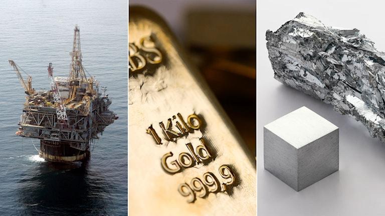 Olja, guld och zink.