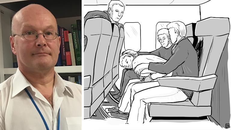 John Parkes och illustration på grepp som försvårar andning