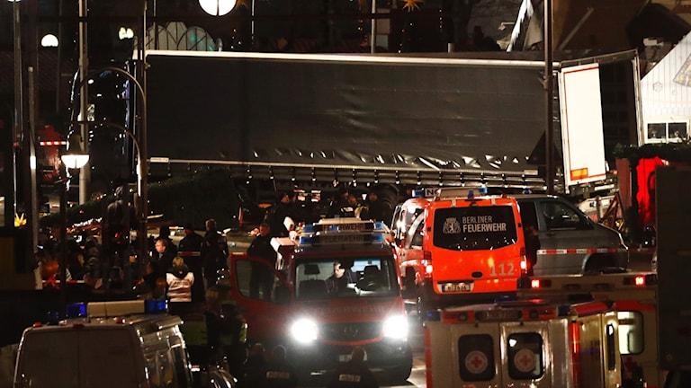 Lastbilen som körde in i en folkmassa i Berlin.