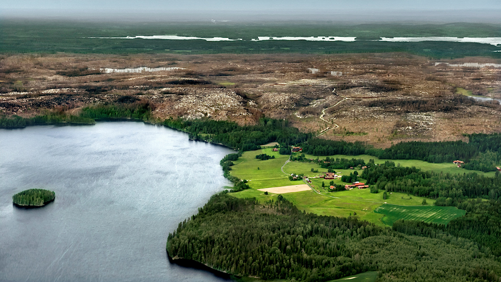 Flygbild på Nyhyttan vid Hörendesjön ett år efter skogsbranden i Västmanland.