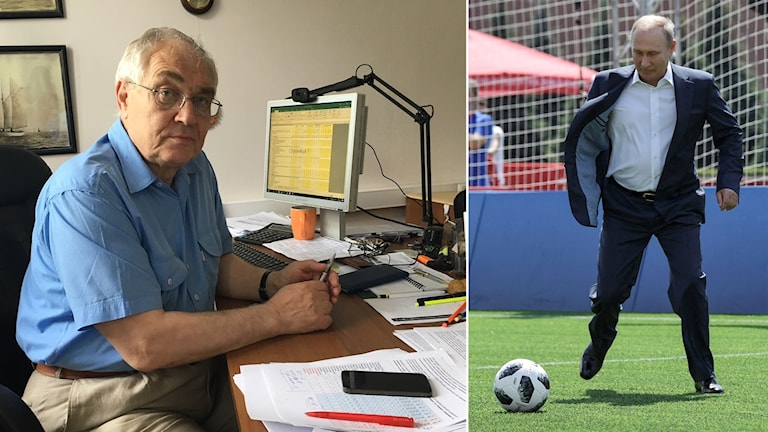 Delad bild: Man vid skrivbord, president som sparkar fotboll i kostym.