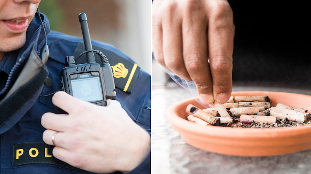Polis och man fimpar cigarett i askkopp.