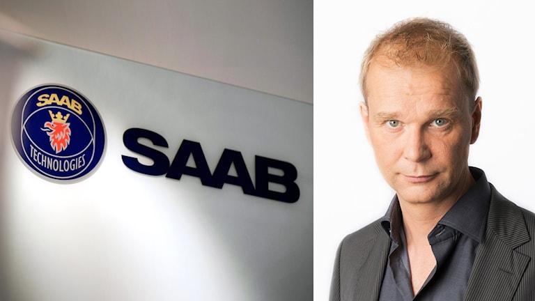 Saab-logga och en man i skjorta.