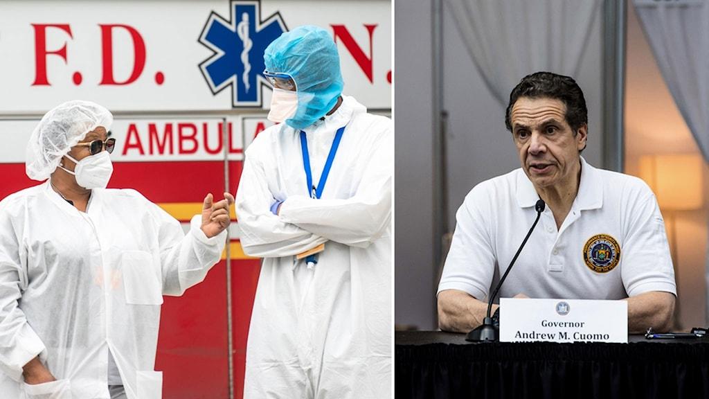 Sjukhusklädda kläder och Andrew Coumo.