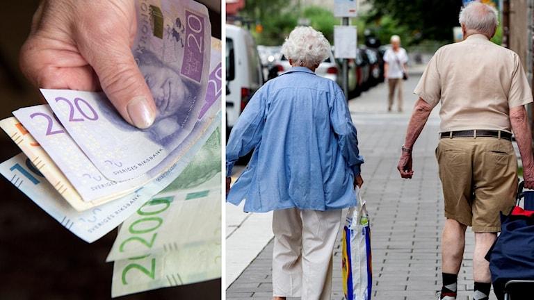 Pengar och ett pensionärspar.