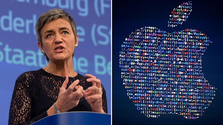 Margrethe Vestager, kommissionären som är ansvarig för konkurrensfrågor. Apples logga.