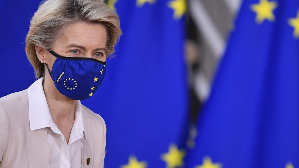 EU:s president Ursula von der Leyen vid EU-toppmötet i Bryssel.