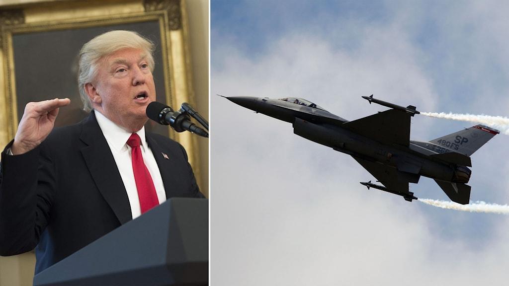Delad bild: Trump och ett stridsflygplan.