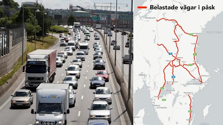 Belastade vägar i påsk. Foto: Adam Ihse /. TT Grafik: Ekot