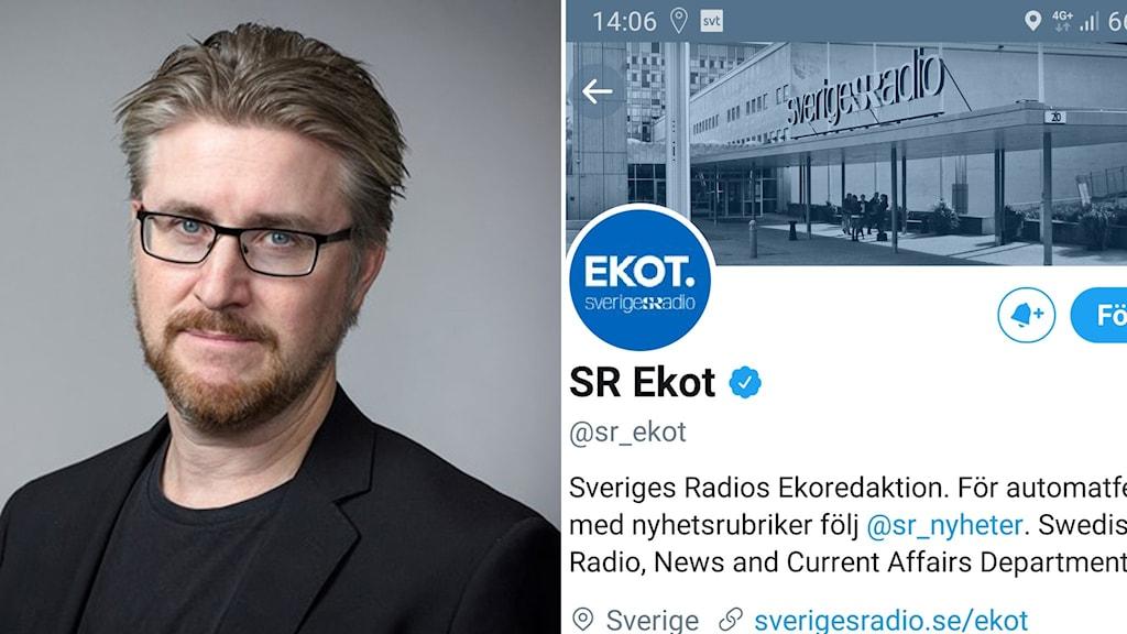 SR:s presschef Claes Bertilson och Ekots twitterkonto