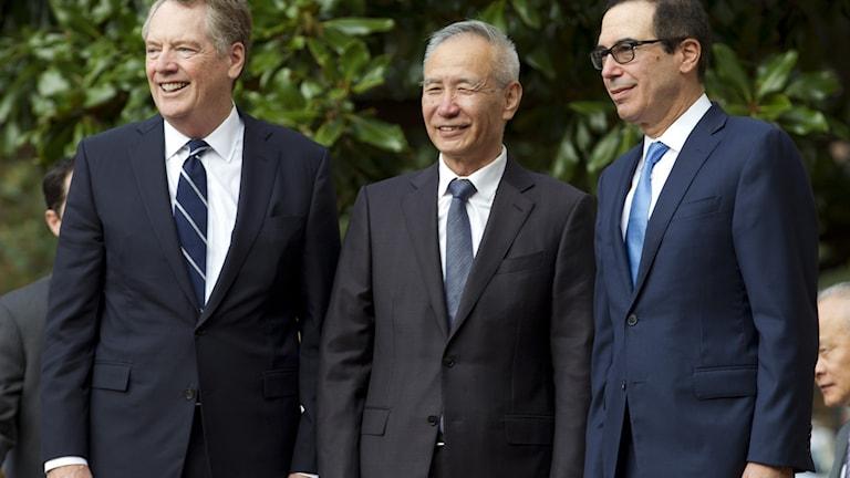 USA:s handelsrepresentant Robert Lighthizer, Kinas vice premiärminister Liu He och USA:s finansminister Steve Mnuchin.