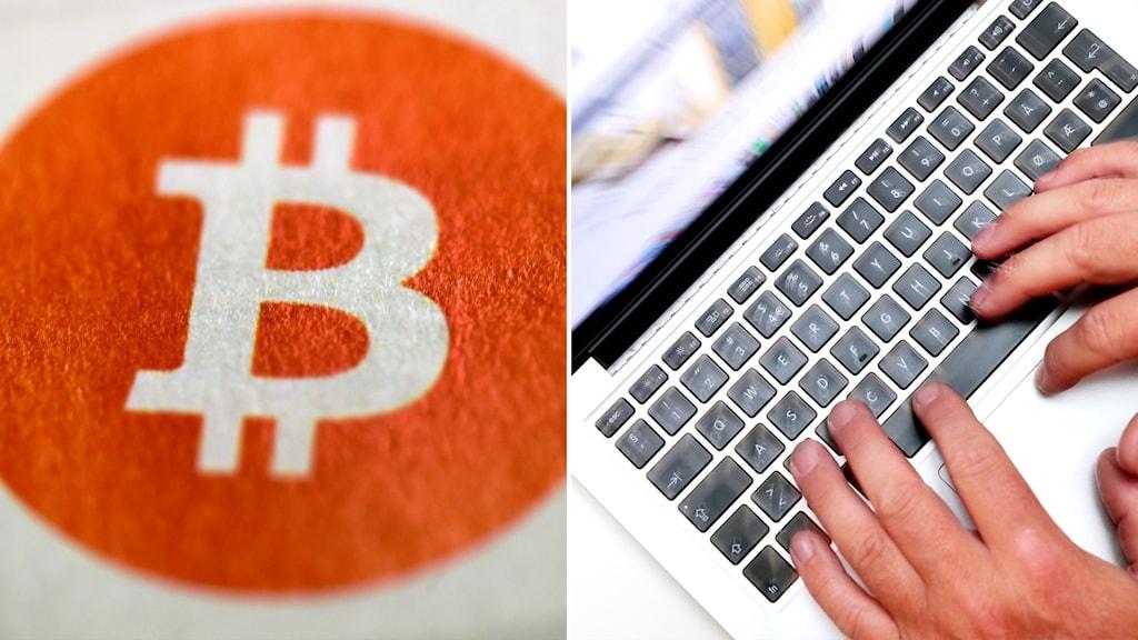 Bitcoin-logga och en genrebild på en dator.