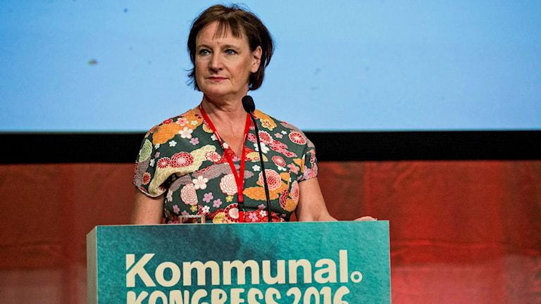 Kommunals avgående ordförande Annelie Nordström håller sitt avskedstal