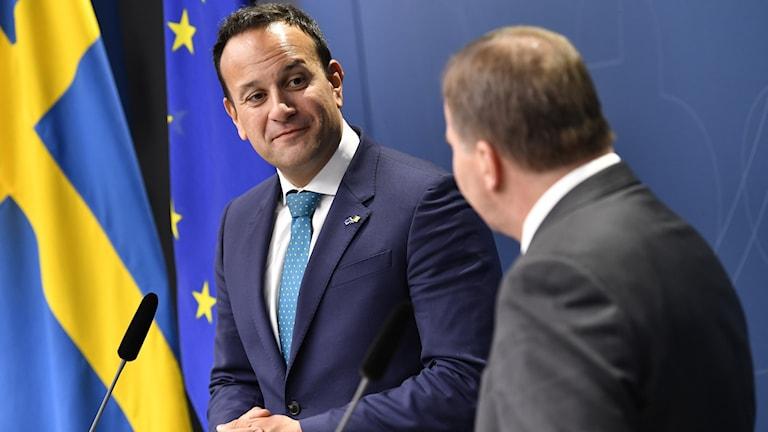 Irlands premiärminister Leo Varadkar och statsministern Stefan Löfven (S) håller en gemensam pressträff i samband med deras samtal då man bland annat diskuterat frågor kring brexit.