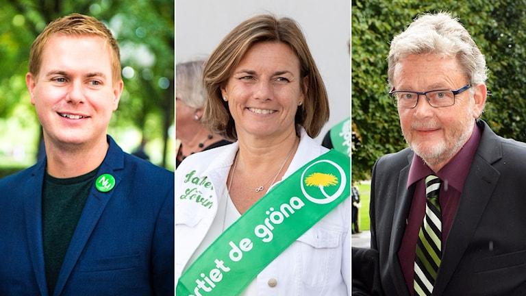 Miljöpertiets språkrör Gustav Fridolin och Isabella Lövin och Birger Schlaug.