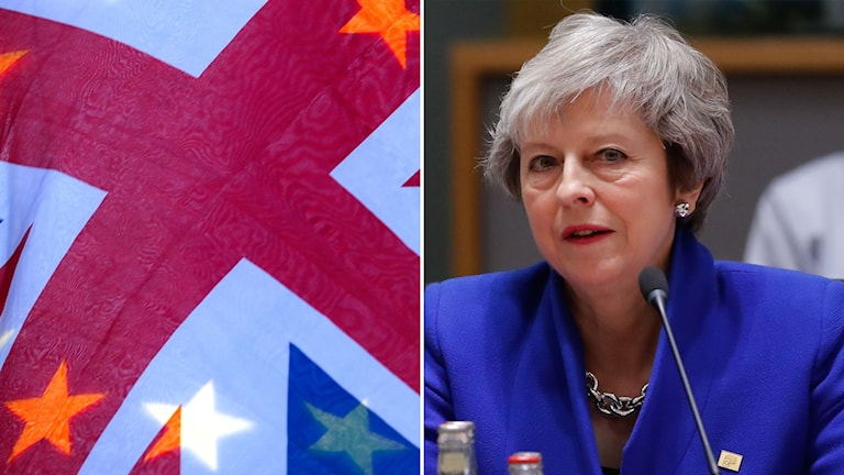 Theresa May Brexit EU-flagga brittisk flagga