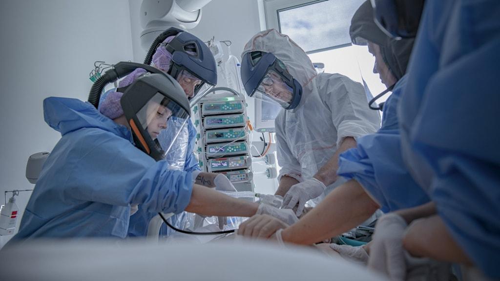 Vårdpersonal tar hand om covid-patient.