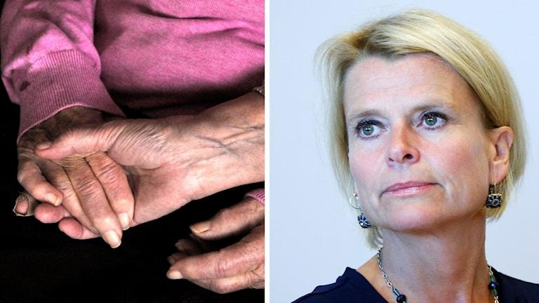 En kvinna håller en gammalkvinna i handen och en kvinna.
