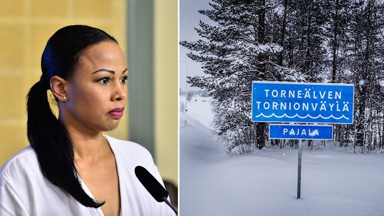 Alice Bah Kuhnke och skylt i Tornedalen