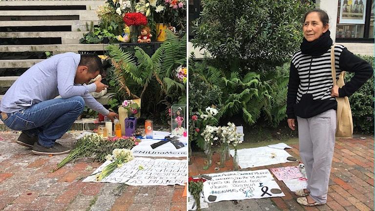 Minnesplats för mördat flicka i Colombia.