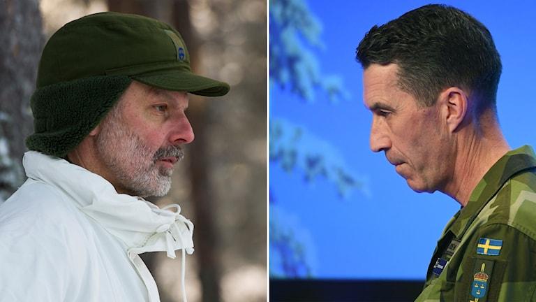 Delad bild: Man i vit jacka och kamoflagejacka, man i militäruniform.