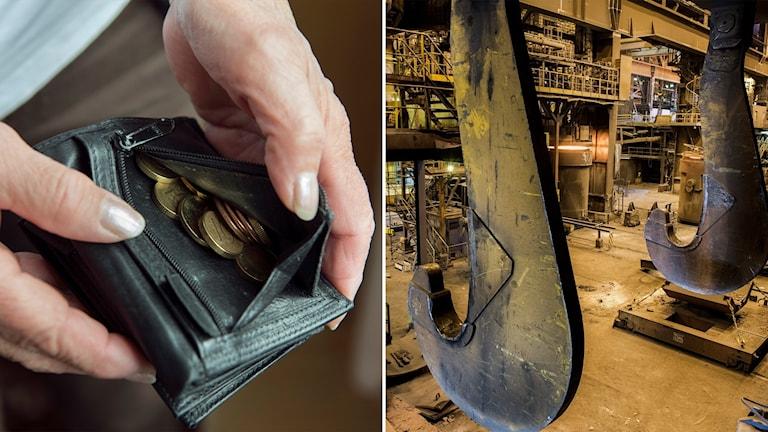 Tvådelad bild: Händer som öppnar myntfack på plånbok och kranar i en fabrik.