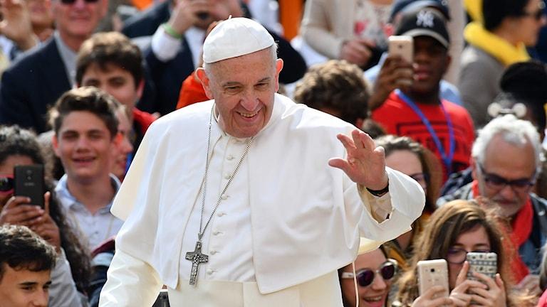 Påve Fransciskus i en folkmassa.