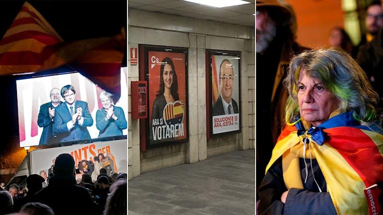 Tredelad bild: Man på en tv-skärm, valaffischer, kvinna i katalansk flagga.