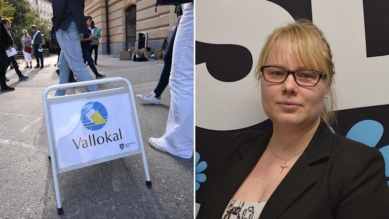 Den sverigedemokratiska politikern Emilia Orpana och en bild på vallokalsskylt.