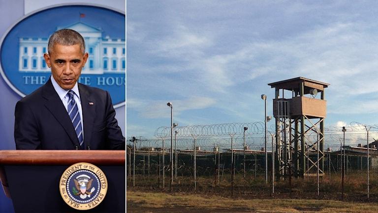 President Barack Obama och fånglägret i Guantánamo Bay på Kuba.
