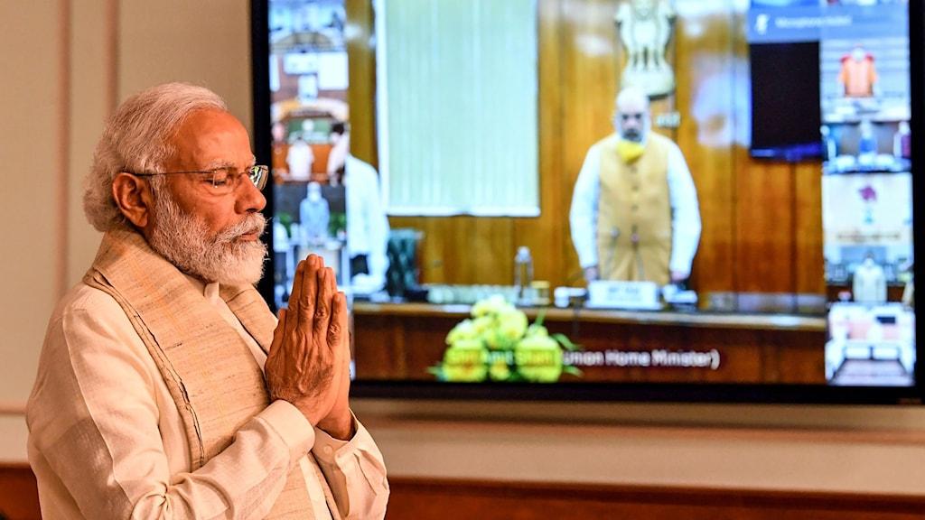 Indiens premiärminister Narendra Modi under en minnesceremoni för de soldater som dog i sammandrabbningen.