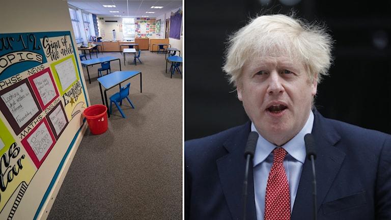Montage på tom skola i Storbritannien och premiärminister Boris Johnson.