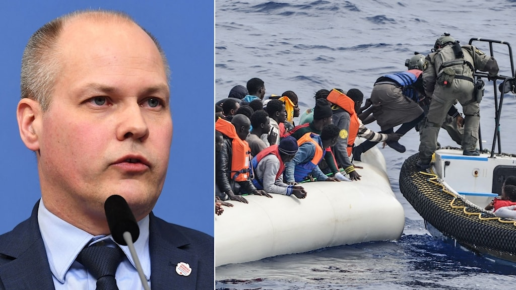 Migrationsminister Morgan Johansson (S). Flyktingar i gummibåt räddas.