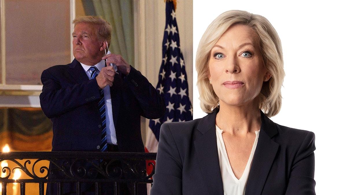 Montage med Ekots USA-kommentator Ginna Lindberg och Donald Trump i Vita huset