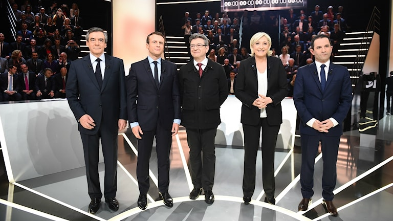 Francois Fillon,  Emmanuel Macron, Jean-Luc Melenchon, Marine Le Pen, Benoit Hamon