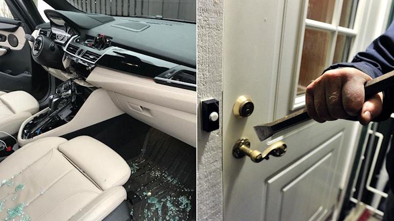 Bilinbrott, krossad bilruta och ratt borta. Höger: Man försöker bryta upp dörr med kofot.