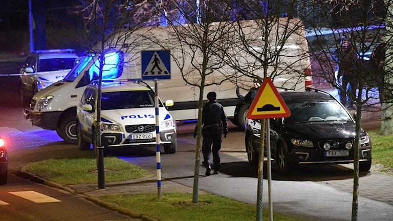 Ett föremål exploderade på gården vid polisstationen i Rosengård i Malmö.