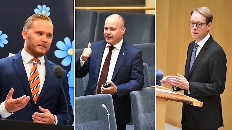 Sverigedemokraten Henrik Vinge, justitie- och migrationsminister Morgan Johansson och moderaten Tobias Billström.
