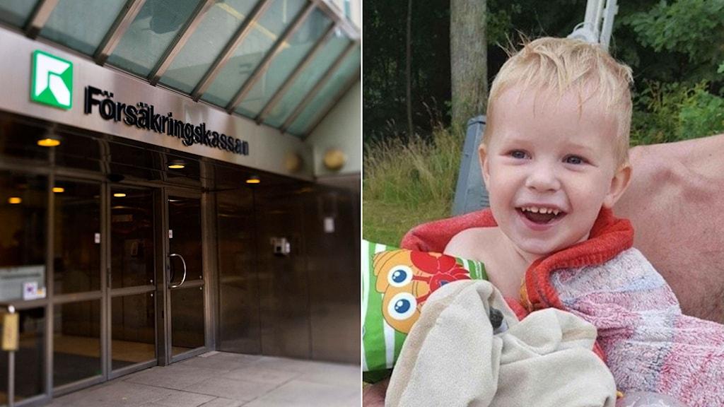 En skylt på försäkringskassan och en ljushårig liten pojke.