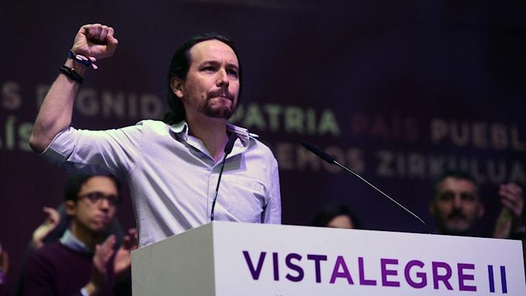 På partikongress blev Pablo Iglesias omvald som Podemos partiledare.