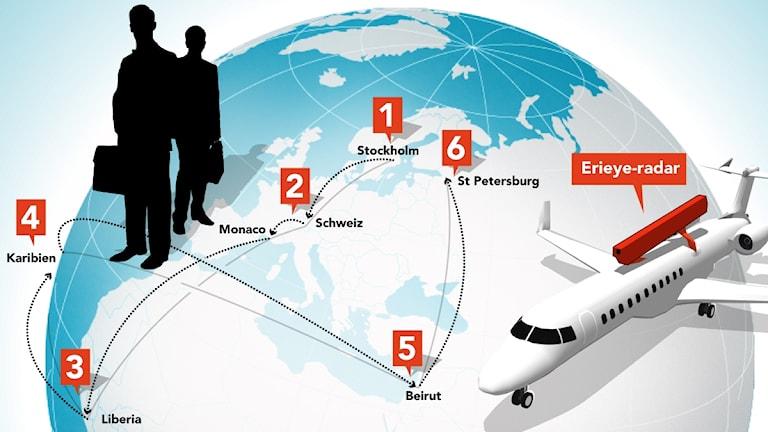 Pilar över karta illustrerar hur pengar slussats. Illustration: Liv Widell / Sveriges Radio