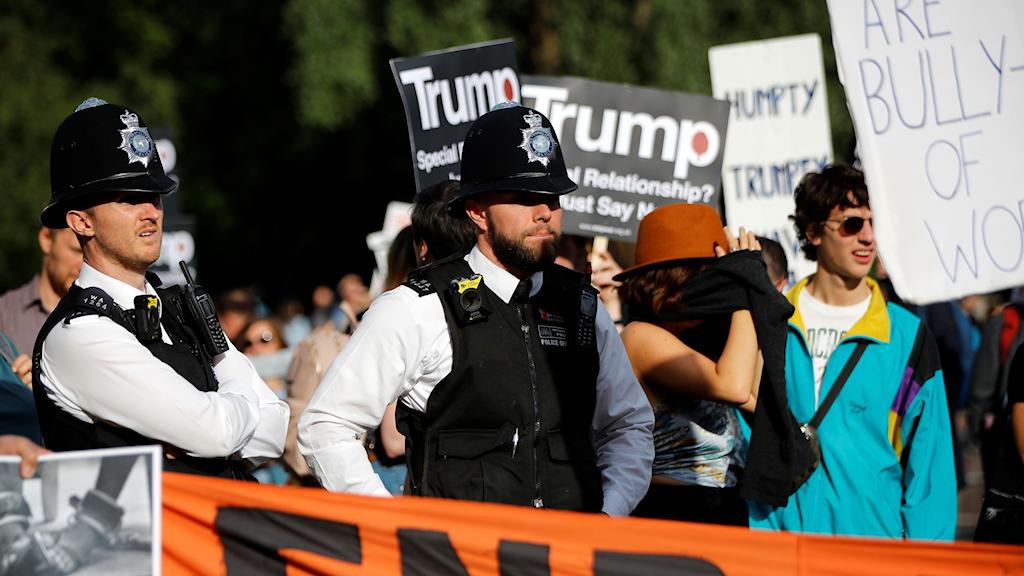 Brittiska poliser och demonstranter med skyltar