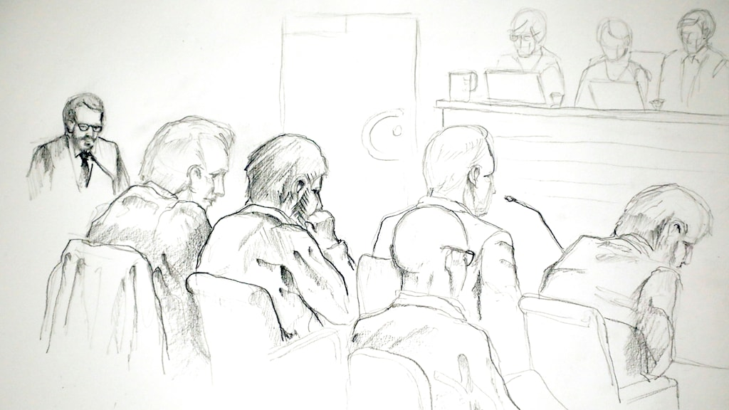 Skiss av rättssalen under rättegången mot Rakhmat Akilov.