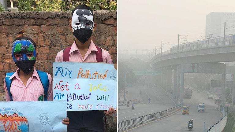 Tvådelad bild: Barn i masker och demonstrationsskyltar mot luftföroreningar, smog över bilväg.