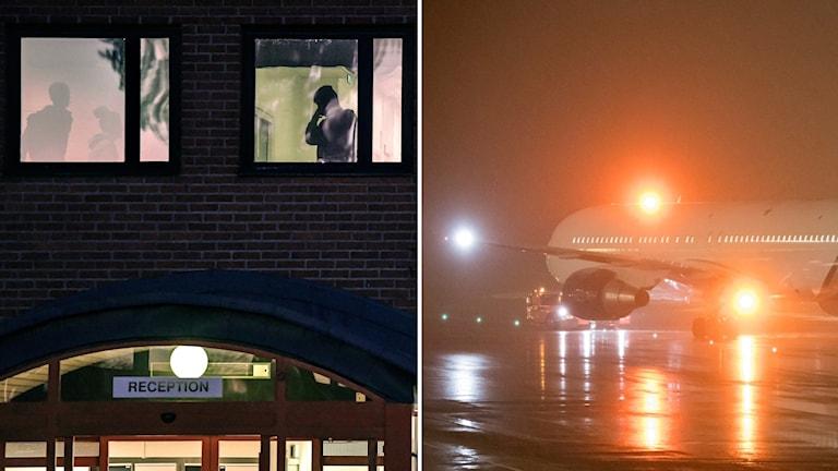 Personer i fönster och ett flygplan.