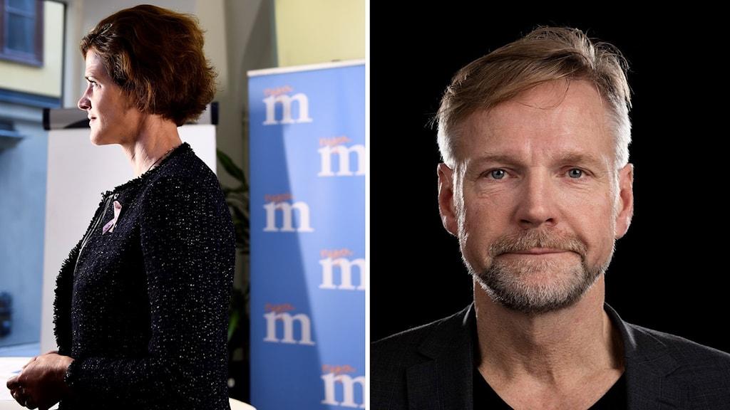 Tomas Ramberg, Ekots politiske kommentator, och M:s partiledare Anna Kinberg Batra.