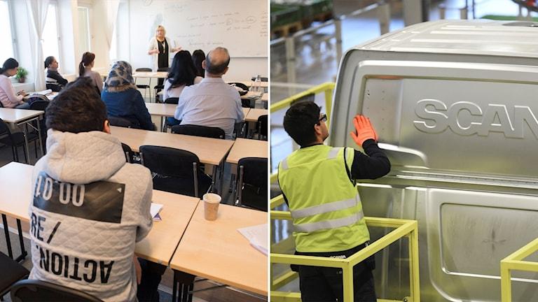 Delad bild: klassrum med nyanlända och en arbetare i en lastbilsfabrik.